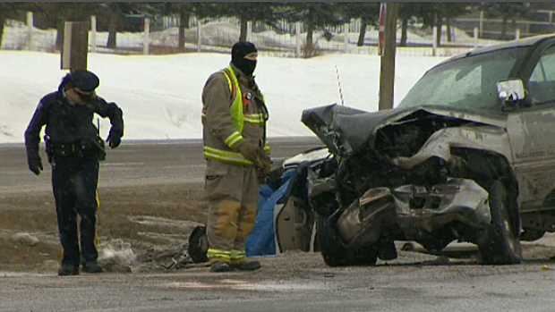The eastbound lanes of the Trans-Canada Highway were shut down as a result of an early morning crash.