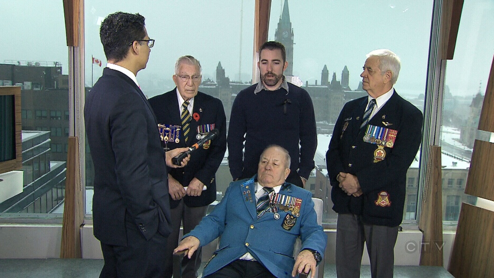 A group of Canadian veterans speak to CTV News reporter Richard Madan in Ottawa, Wednesday, Jan. 29, 2014.