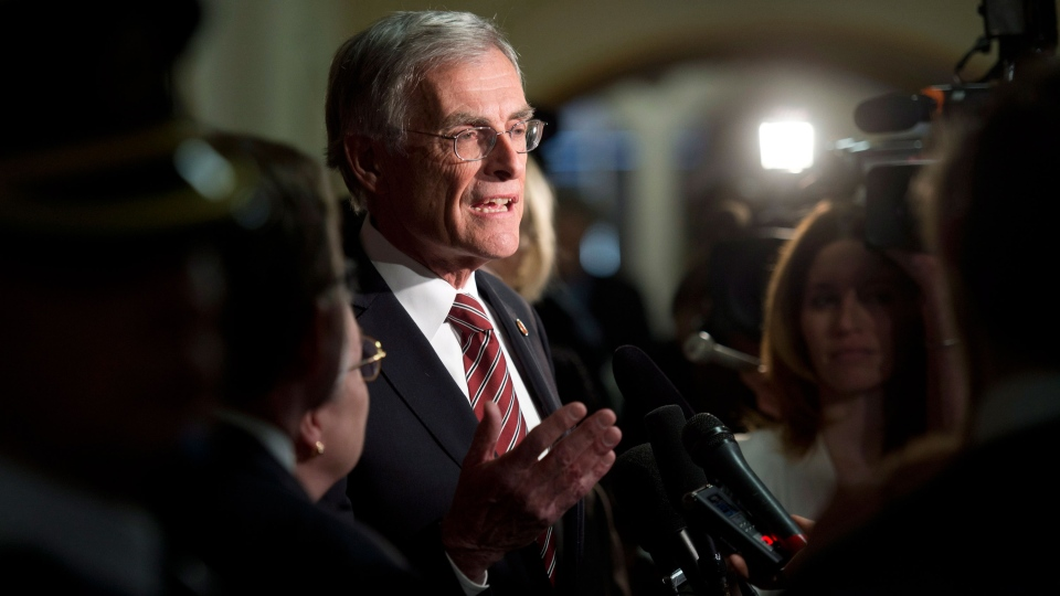 Senator James Cowan speaks with the media following the Liberal caucus on Parliament Hill in Ottawa on Wednesday, Jan. 29, 2014. (Adrian Wyld / THE CANADIAN PRESS)