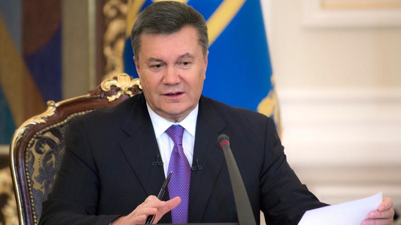 Ukrainian President Viktor Yanukovych speaks during a press conference in Kyiv, Ukraine, Thursday, Dec. 19, 2013. (AP / Mykhailo Markiv)