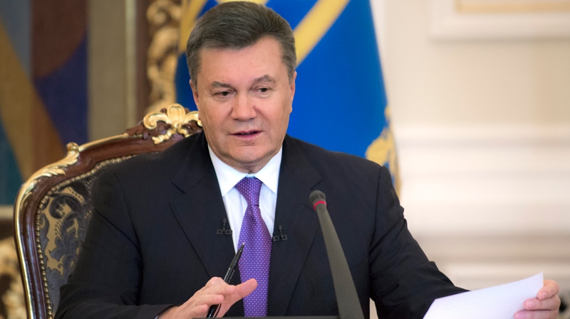 Ukrainian President Viktor Yanukovych speaks during a press conference in Kyiv, Ukraine, Thursday, Dec. 19, 2013. (AP / Mykhailo Markiv)