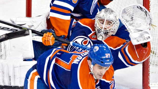 Edmonton Oilers Ben Scrivens, Boyd Gordon