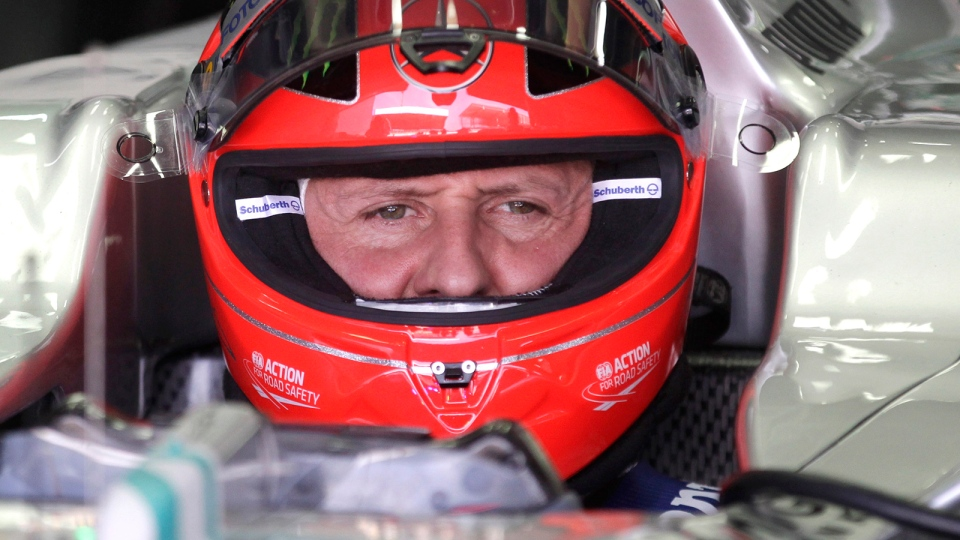 Grand Prix driver Michael Schumacher, of Germany, sits in his car during a free practice at the Interlagos race track in Sao Paulo, Brazil, Nov. 23, 2012. (AP / Victor Caivano)