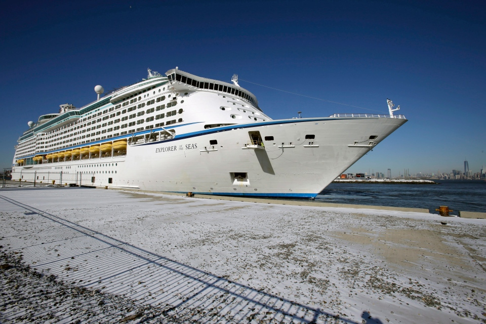 The Explorer of the Seas cruise ship is docked at a berth after arriving in Bayonne, N.J., Wednesday, Jan. 29, 2014. (AP / Mel Evans)