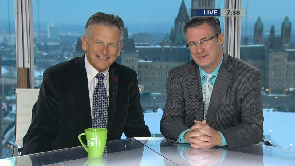 Conservative Senator Larry Smith, left, and former Liberal senator George Baker appear on Canada AM, Thursday, Jan. 30, 2014.