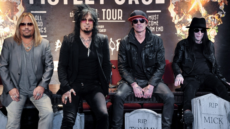From left, Vince Neil, Nikki Sixx, Tommy Lee and Mick Mars attend the Motley Crue Press Conference on Tuesday, Jan. 28, 2014, in Los Angeles. (AP / Richard Shotwell)