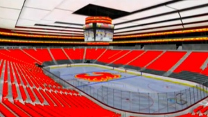 A concept video, produced by architectural company Populous, depicts the Calgary Flames logo at centre ice and team footage on the jumbotron. (Supplied/Discovery Channel)