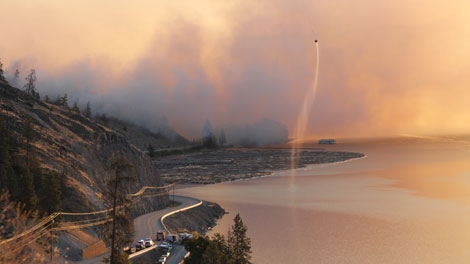A forest fire has forced the evacuation of 550 people near Kelowna, B.C. Sept. 6, 2011.