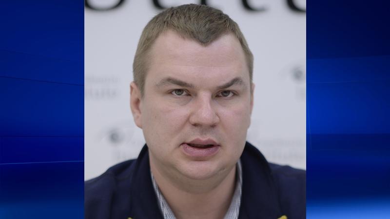 Dmytro Bulatov speaks to press during an interview in Kyiv, Ukraine, Jan. 13, 2014. (AP / Maks Levin)