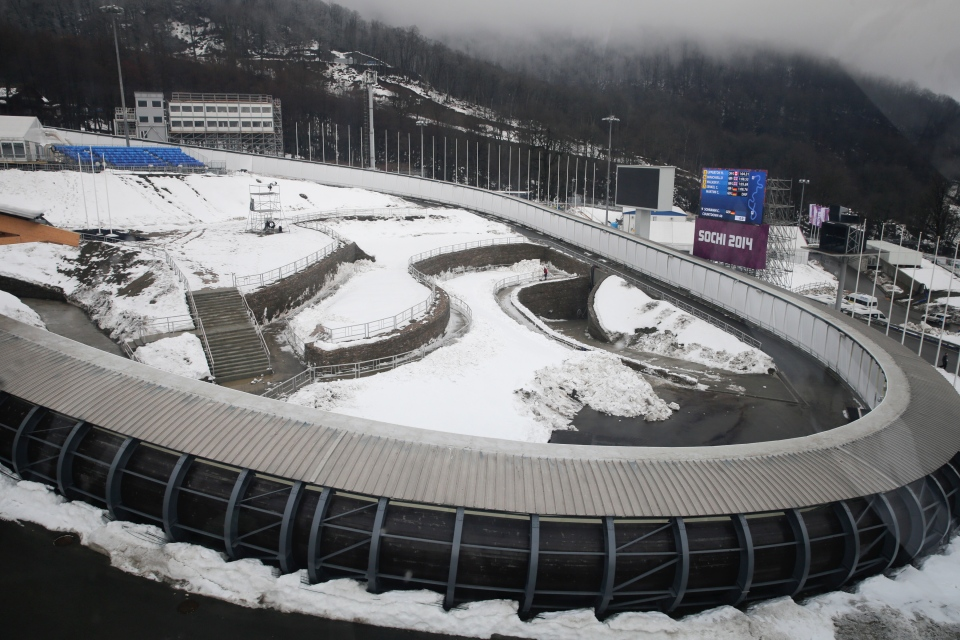 The Sanki Sliding Center, a venue for bobsleigh, skeleton and luge at the 2014 Winter Olympics, is seen in Krasnaya Polyana, Russia, Friday, Jan. 31, 2014. (AP / Jae C. Hong)