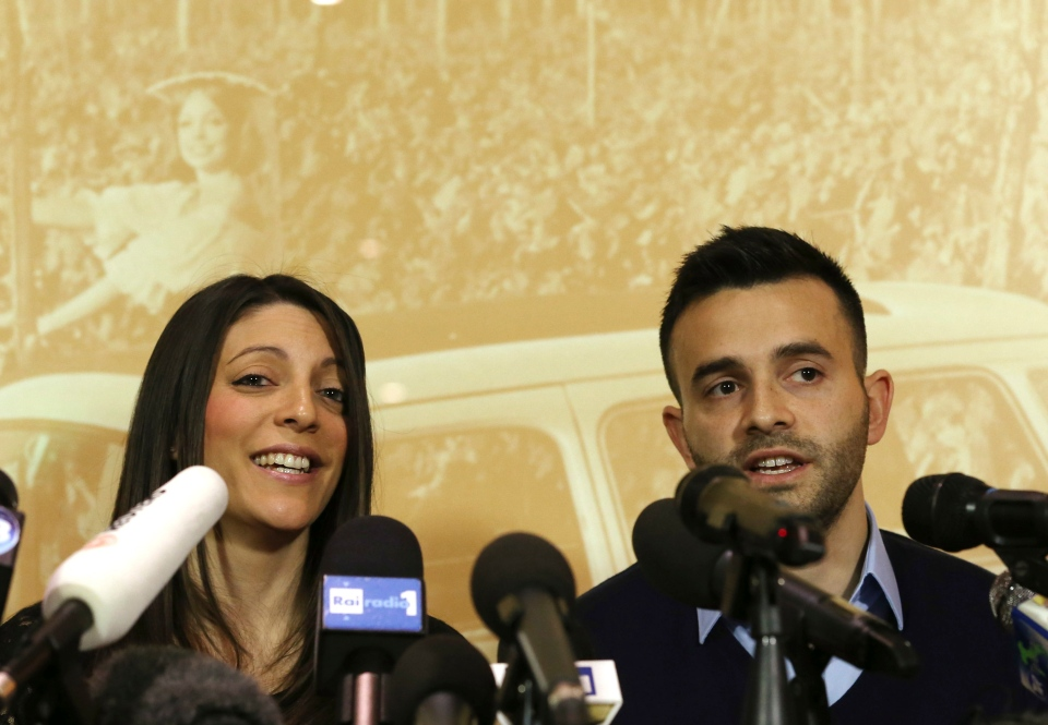 Meredith Kercher's sister Stephanie, left, and brother Lyle, talk during a press conference in Florence, Italy, Friday, Jan. 31, 2014. (AP / Antonio Calanni )