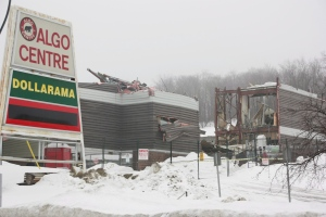 Demolition of the ill-fated Algo Centre Mall continues in Elliot Lake, Ont., on Sunday, March 10, 2013. (Colin Perkel / THE CANADIAN PRESS)