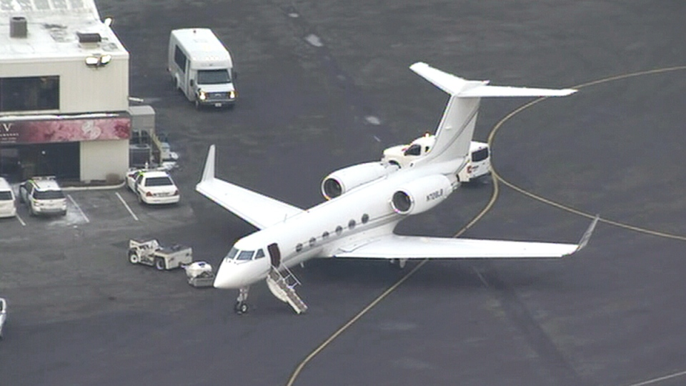 Justin Bieber's private plane on the tarmac at Teterboro Airport in New Jersey, Friday, Jan. 31, 2014.
