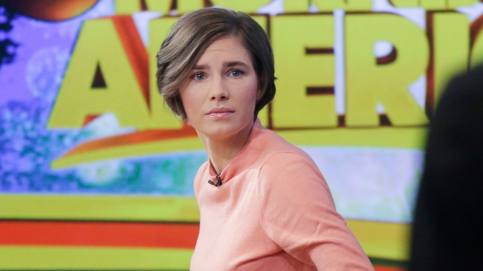 Amanda Knox prepares to leave the set following a television interview in New York, Friday, Jan. 31, 2014. (AP / Mark Lennihan)