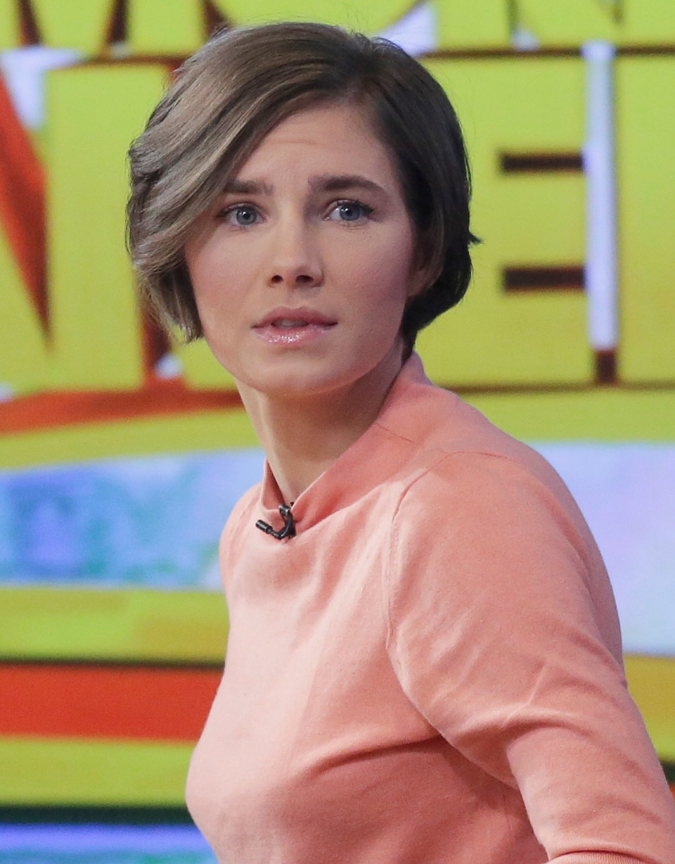 Amanda Knox prepares to leave the set following a television interview, Friday, Jan. 31, 2014 in New York. (AP / Mark Lennihan)