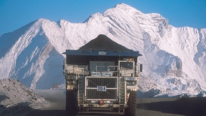 A truck hauls a load at Teck Resources Coal Mountain operation near Sparwood, B.C. in a handout photo.