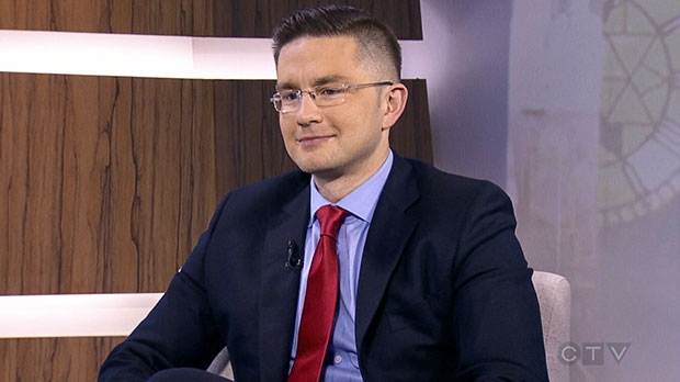 Pierre Poilievre, Conservative Minister for State for Democratic Reform, speaks in an interview that aired on CTV's Question Period, Sunday, Feb. 2, 2014.