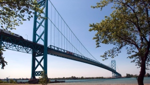 The Ambassador Bridge spans the Detroit River dividing Canada and the U.S., is shown on Friday June 15, 2012. A long-awaited new bridge at Canada's busiest border crossing will ease traffic gridlock and encourage trade. (THE CANADIAN PRESS / Mark Spowart)