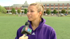 Alyssa Lagonia, of the Wilfrid Laurier Lady Hawks, speaks with CTV on Tuesday, Sept. 6, 2011.