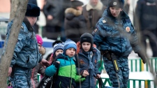 Children evacuate a Moscow school