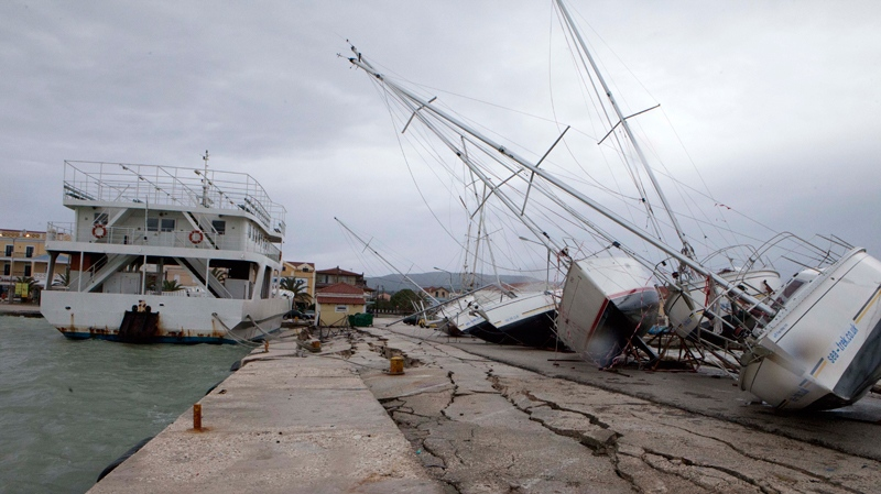 Damage after an earthquake at Lixouri port on the island of Kefalonia, western Greece on Monday, Feb. 3, 2014. (AP Photo)