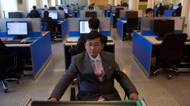 North Korean student at a computer in Pyongyang