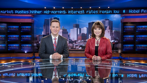 Todd van der Heyden and Mutsumi Takahashi settle in to the new set at CTV Montreal