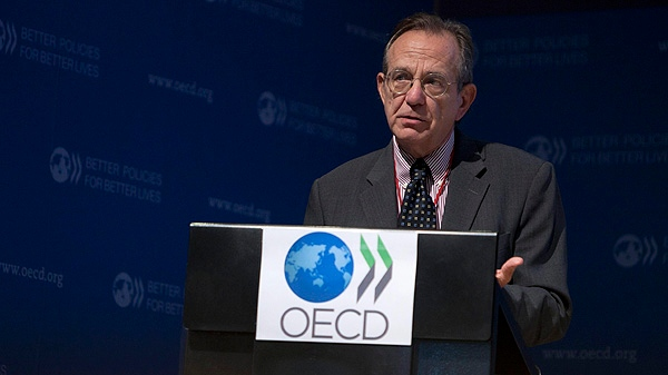 OECD Chief Economist, Pier Carlo Padoan, gestures during a press conference held at the OECD headquarters in Paris, France, Thursday Sept. 8, 2011.  (AP Photo/Thibault Camus)
