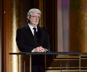 Producer George Lucas speaks at the 2013 Governors Awards on Saturday, Nov. 16, 2013 in Los Angeles. (Dan Steinberg/Invision/AP)