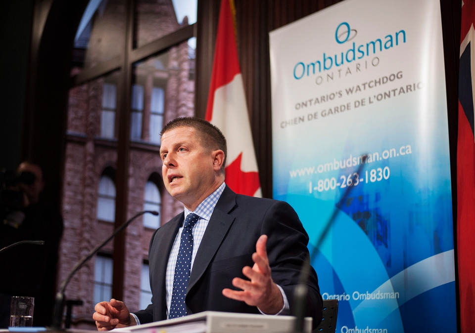 Ontario Ombudsman Andre Marin speaks at a news conference to announce his latest investigation into complaints about billing practices by Hydro One at Queens Park in Toronto on Tuesday, Feb. 4, 2014 . (Aaron Vincent Elkaim / THE CANADIAN PRESS)