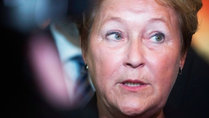 Quebec Premier Pauline Marois speaks to reporters in Montreal, Tuesday, Jan. 14, 2014. (Graham Hughes / THE CANADIAN PRESS)
