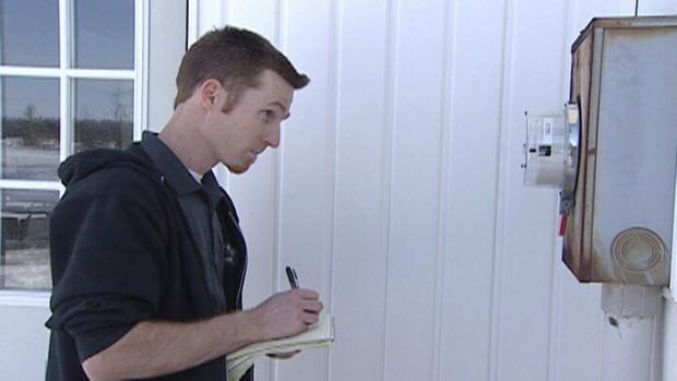 Dave Reaney checks smart meter