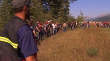 Searchers scour the area near Kienan Hebert's Sparwood home in the hunt for the missing three-year-old. Sept. 8, 2011. (CTV)