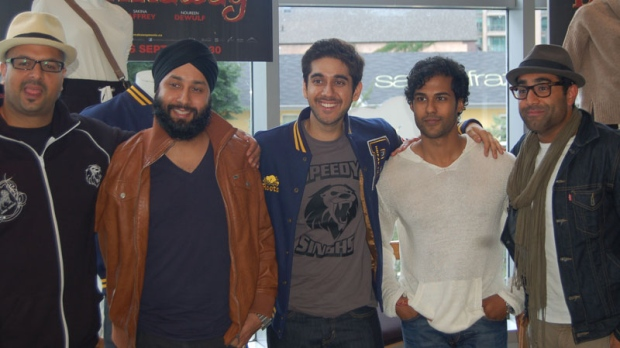 The cast of 'Breakaway' from left to right, Ali Hassan, Rup Magon, star Vinay Virmani, Prem Singh and Al Mukadam met with CTVNews.ca at a Roots store on Toronto's Bloor Street. (Josh Visser / CTVNews.ca)