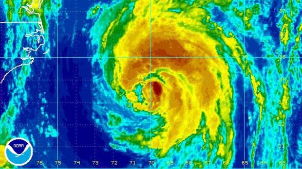 This enhanced NOAA satellite image taken 10:45 a.m. on Thursday, Sept. 8, 2011 shows Hurricane Katia.