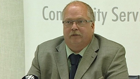 Bob Bymoen, president of the Saskatchewan Government and General Employee's Union, speaks at a news conference in Regina on Thursday.