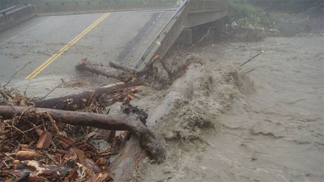 The northwest B.C. town of Stewart is cut off by road from the rest of the province after flooding washed out parts of a highway and damaged a bridge. (Drive BC)