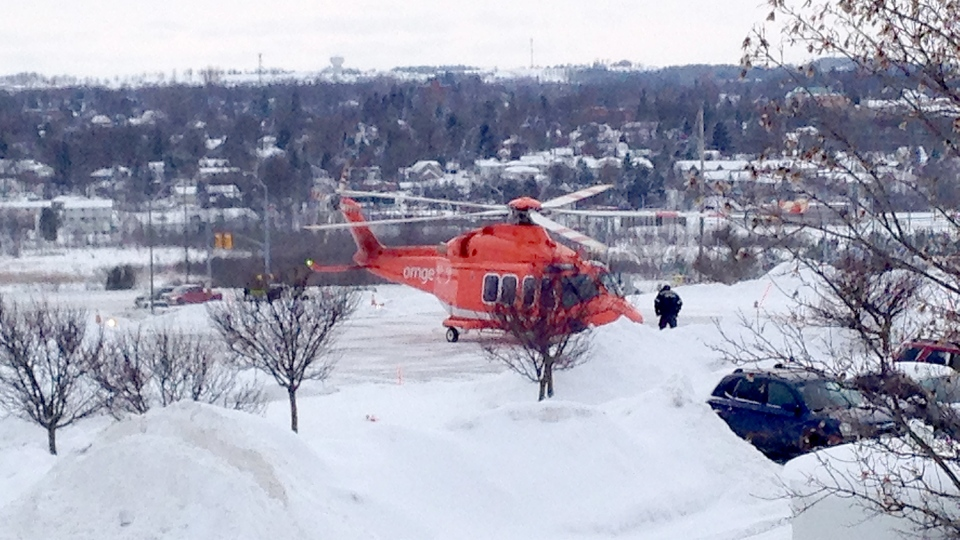 An Ornge air ambulance lands at Headwaters Hospital in Orangeville Feb. 5, 2014 to airlift an injured boy to a Toronto hospital. The boy was injured after an accident involving a snowbank. (Roger Klein / CTV Barrie)