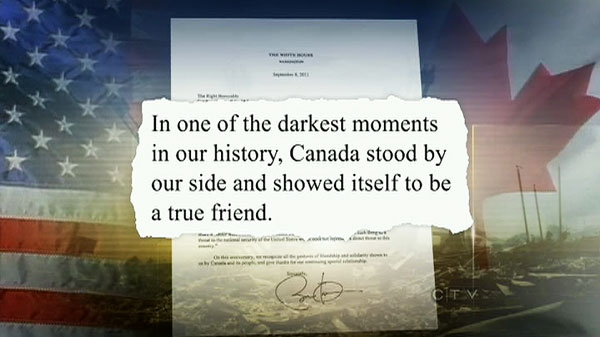 U.S. President Barack Obama thanked Canadians on Friday for their help in the wake of the 9-11 attacks in a letter to Prime Minister Stephen Harper.