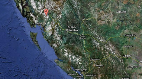 The northwest B.C. town of Stewart is cut off by road from the rest of the province after flooding washed out parts of a highway and damaged a bridge. (Google Maps)