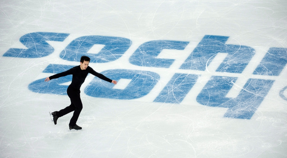 Canada's Patrick Chan goes through his routine during a figure skating practice at the Sochi Winter Olympics Wednesday, February 5, 2014 in Sochi. (Paul Chiasson/THE CANADIAN PRESS)