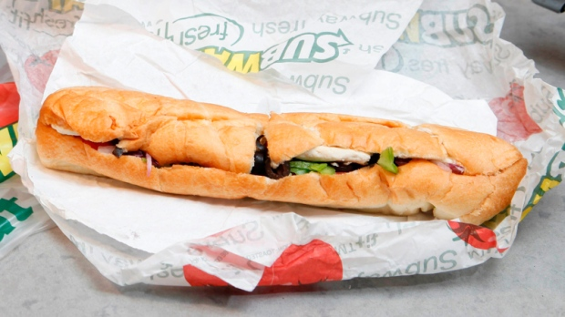 Chicken breast sandwich at a New York Subway shop