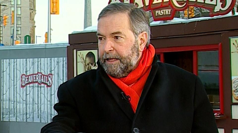NDP Leader Thomas Mulcair appears on Canada AM in Ottawa, Thursday, Feb. 6, 2014