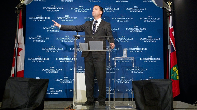 Ontario PC Leader Tim Hudak speaks at a luncheon hosted by The Economic Club of Canada in Toronto on Friday, Sept. 9, 2011. (THE CANADIAN PRESS / Chris Young)