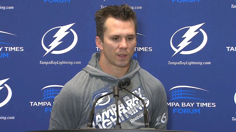 Tampa Bay Lightning forward Martin St. Louis speaks during a press conference in Tampa, Florida, Thursday, Feb. 6, 2014.