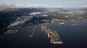 Douglas Channel, the proposed termination point for an oil pipeline in the Enbridge Northern Gateway Project, is pictured in an aerial view in Kitimat, B.C., on Tuesday, Jan. 10, 2012. (Darryl Dyck / THE CANADIAN PRESS)