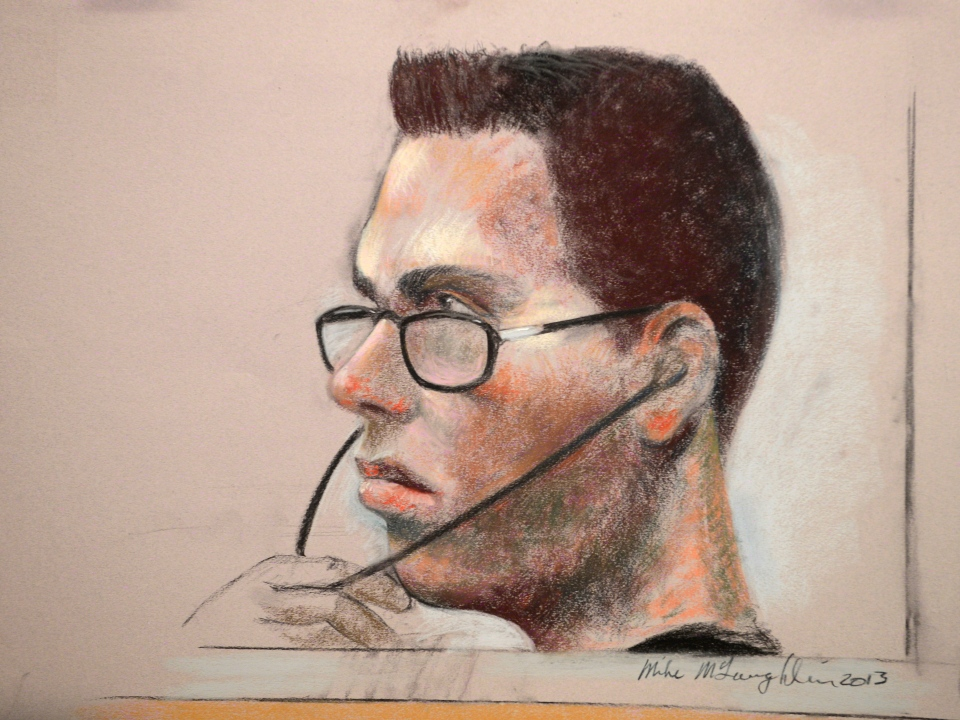 Luka Magnotta is shown in an artist's sketch in a Montreal court on March 13, 2013. (Mike McLaughlin / THE CANADIAN PRESS)
