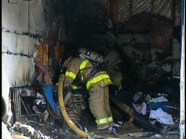 Crews responded to a fire in the attached garage of a home in London, Ont. on Thursday, Feb. 6, 2014. (Wayne Jennings / CTV London)