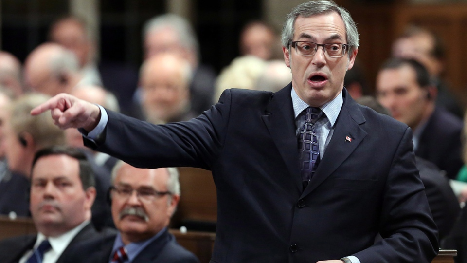 Treasury Board President Tony Clement stands in the House of Commons during question period, in Ottawa, Thursday, Feb. 6, 2014. (Fred Chartrand / THE CANADIAN PRESS)
