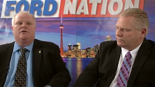"""In this YouTube screengrab, Toronto Mayor Rob Ford and his brother, Councillor Doug Ford, appear in a promotional clip for their new web series """"Ford Nation."""""""